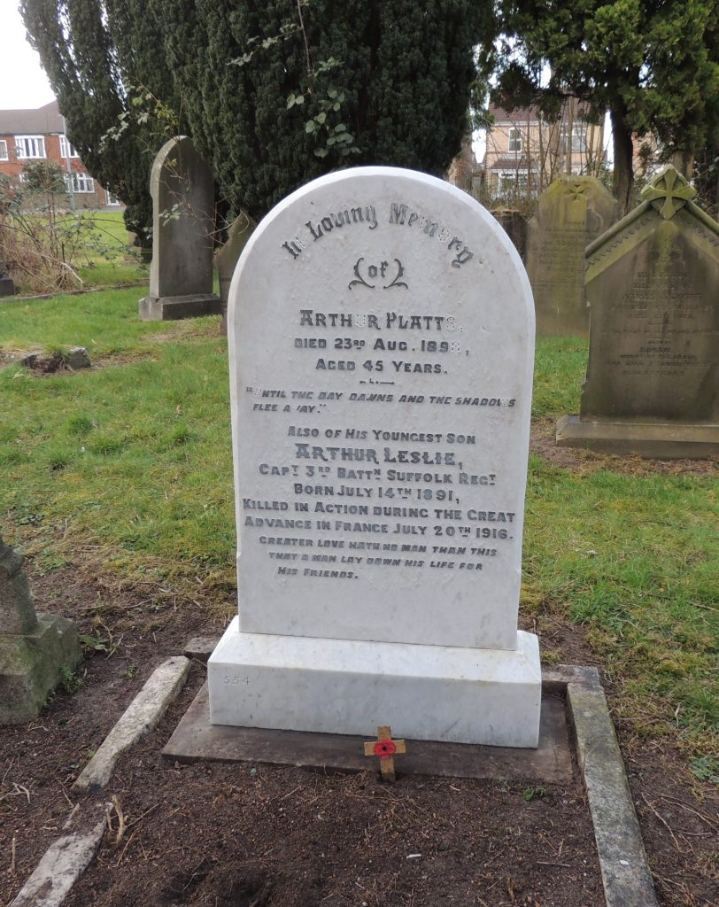 Capt. Arthur Platts headstone after restoration