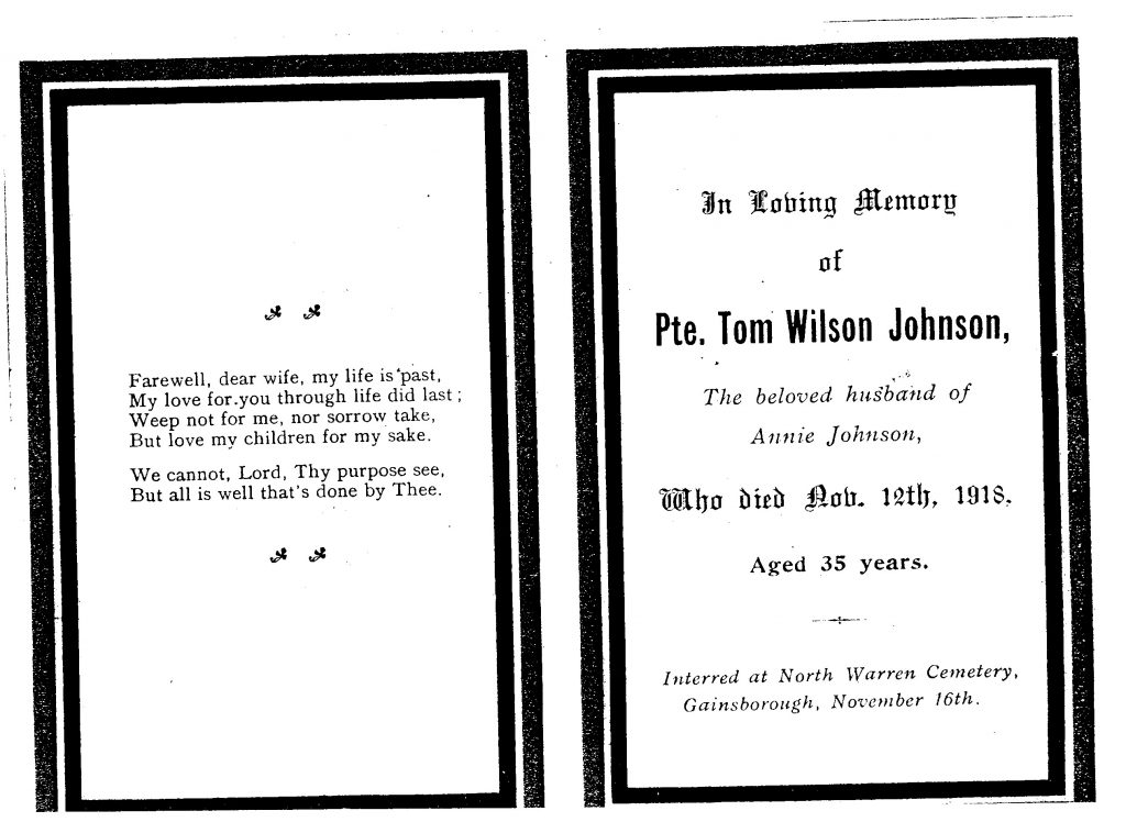 Order of Service for Private Johnson