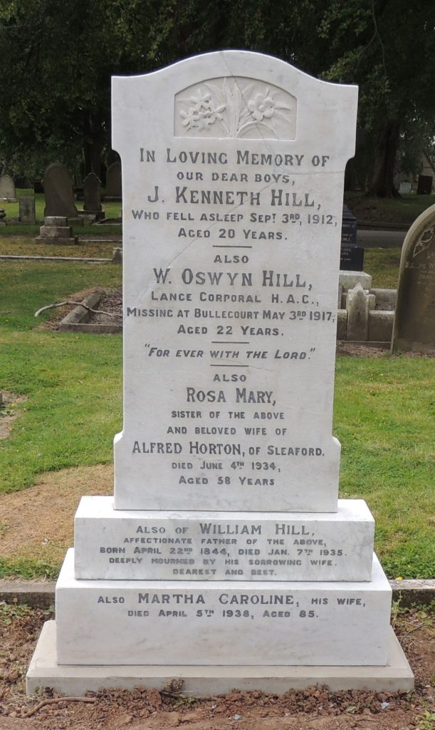 Lance Cpl. William Oswyn Hill's headstone after restoration