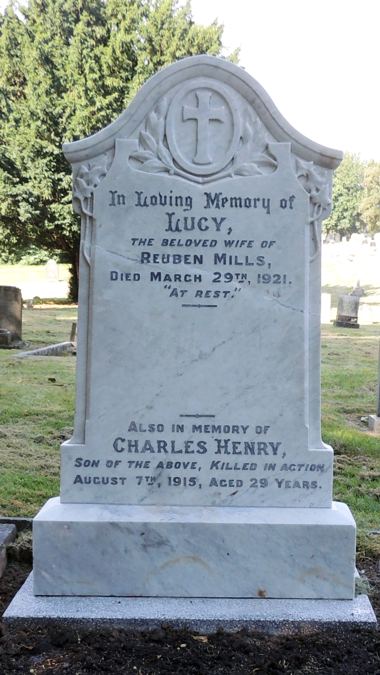 Lance Cpl. Charles Henry Mills headstone after restoration