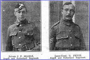 Newspaper clipping showing Private Searle and Lance-Cpl. Petch