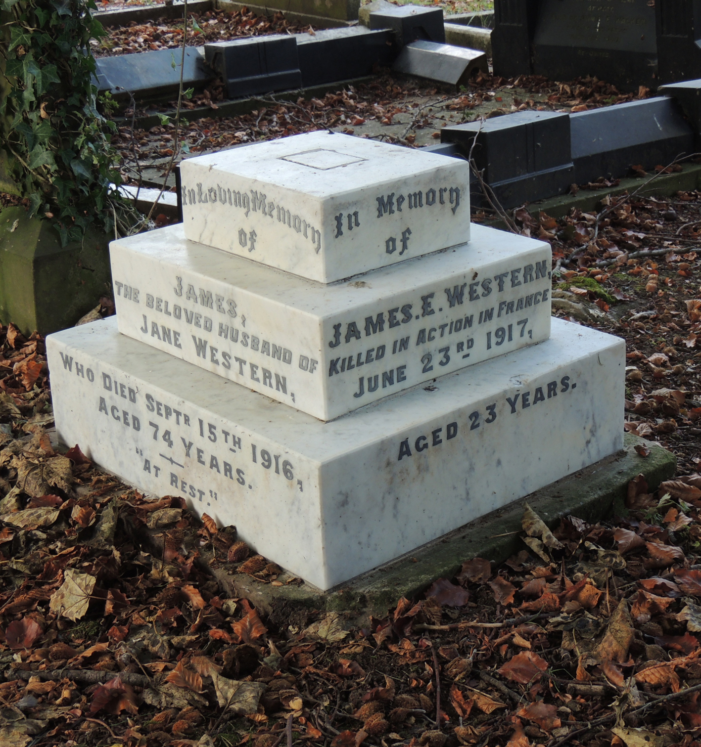 Private James Edward Western's headstone after restoration