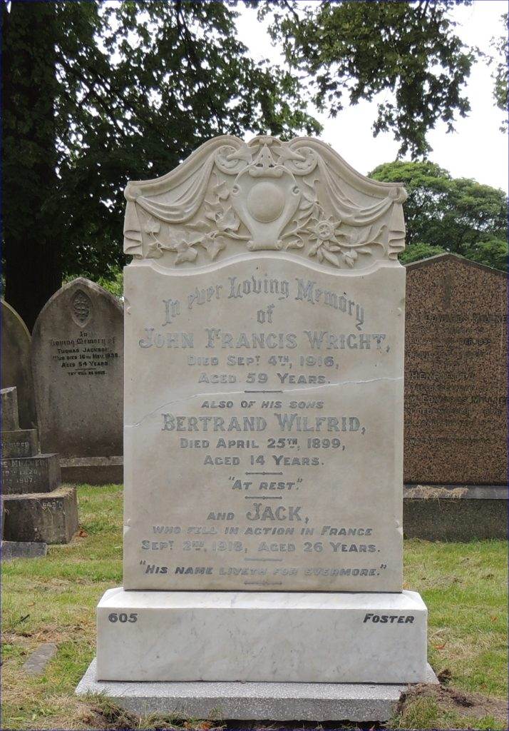 Private John (Jack) Samuel Wright's headstone after restoration