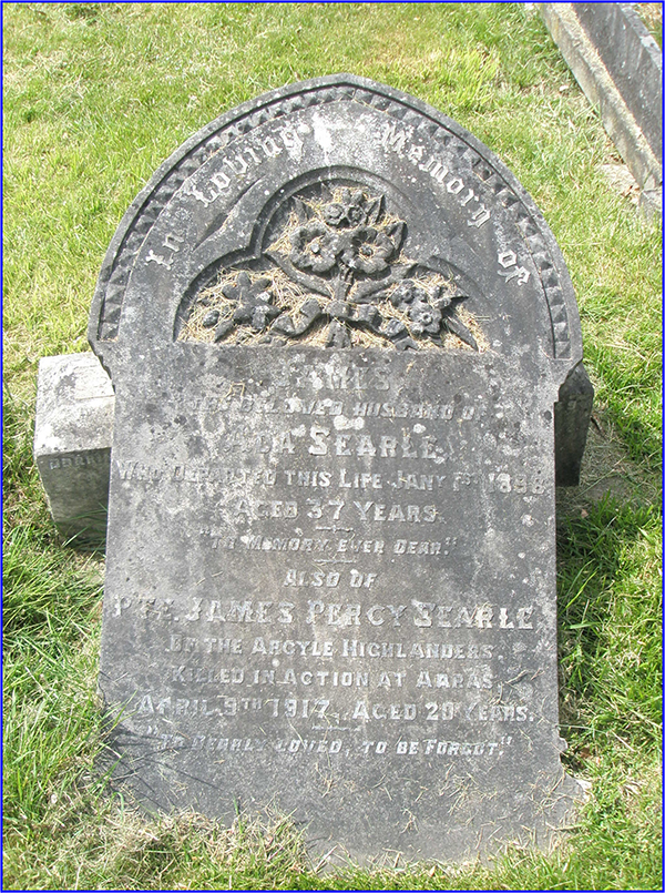 Private Searle's headstone before restoration