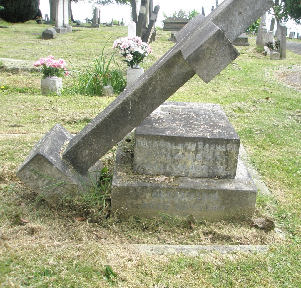 Private Signaller Hugh Barnard's headstone before restoration