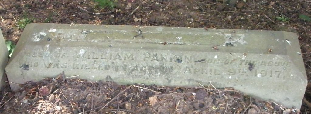 Private William Frank Parkin's headstone before restoration