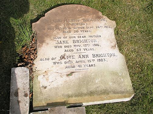 Drummer W H Brighton's headstone before restoration